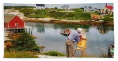 Painting Peggys Cove Hand Towel
