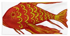 Painting Red Fish Bath Towel