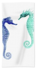 Pair Of Blue And Sea Green Seahorses Watercolor Bath Towel