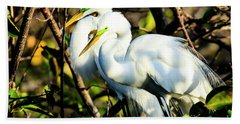 Pair Of Courting Great Egrets Bath Towel