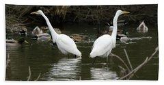 Pair Of Egrets Hand Towel