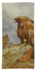 Pair Of Golden Eagles By Thorburn Hand Towel