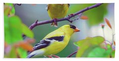 Pair Of Goldfinches Bath Towel