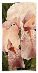 Hand Towel featuring the painting Pair Of Peach Iris  by Laurie Rohner