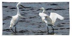 Pair Of Snowy Egrets Hand Towel