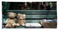 Teddy Bear Lovers On The Banch Hand Towel by Yoel Koskas