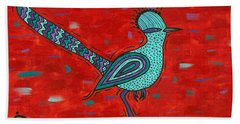 Bath Towel featuring the painting Paisano Petra - Roadrunner by Susie WEBER