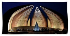 Pakistan Monument Illuminated At Night Islamabad Pakistan Hand Towel