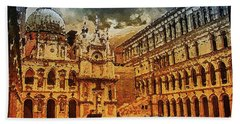Hand Towel featuring the digital art Palace Painting by PixBreak Art