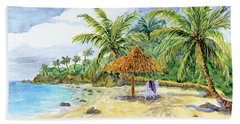 Palappa N Adirondack Chairs On A Caribbean Beach Bath Towel by Audrey Jeanne Roberts
