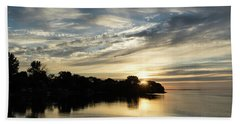 Pale Gold Sunrays - A Cloudy Sunrise With Two Ducks Hand Towel