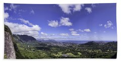Pali Lookout Panorama Hand Towel