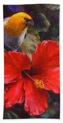 Palila And Hibiscus - Hawaiian Painting Hand Towel