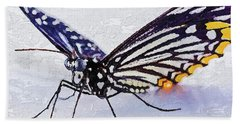 Hand Towel featuring the digital art Pallete Knife Painting Blue Butterfly by PixBreak Art