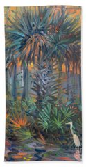 Palm And Egret Hand Towel by Donald Maier