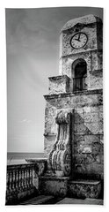 Palm Beach Clock Tower In Black And White Hand Towel