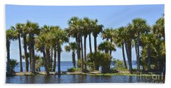 Hand Towel featuring the photograph Palm Island by Carol  Bradley