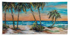 Bath Towel featuring the painting Palm Reflection Lagoon by Linda Olsen
