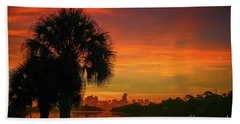 Palm Silhouette Sunrise Hand Towel