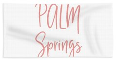 Palm Springs Pink On White- Art By Linda Woods Hand Towel