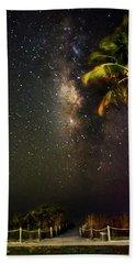 Palm Tree Beach And Stars Hand Towel by Chrystal Mimbs