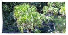 Palm Tree Blue Pond Hand Towel