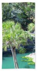 Palm Tree Blue Pond Bath Towel