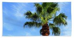 Palm Tree, Blue Sky, Wispy Clouds Bath Towel