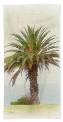 Palm Tree In Coastal California In A Retro Style Bath Towel