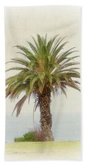 Palm Tree In Coastal California In A Retro Style Hand Towel