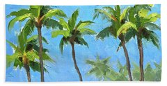 Bath Towel featuring the painting Palm Tree Plein Air Painting by Karen Whitworth