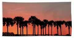 Hand Towel featuring the photograph Palm Tree Sunset by Joel Witmeyer