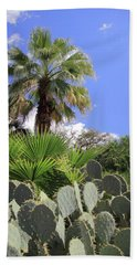 Palm Trees And Cactus Bath Towel by Angela Murdock