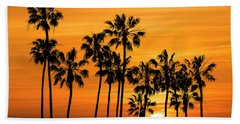 Hand Towel featuring the photograph Palm Trees At Sunset By Cabrillo Beach by Randall Nyhof