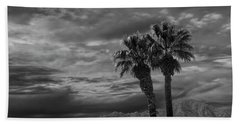 Hand Towel featuring the photograph Palm Trees By Borrego Springs In Black And White by Randall Nyhof