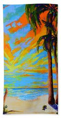 Florida Palm Trees, Tropical Beach, Colorful Sunset Painting Hand Towel