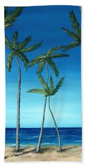 Hand Towel featuring the painting Palm Trees On Blue by Anastasiya Malakhova