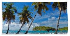 Palm Trees On Sandy Beach Bath Towel by Anthony Fishburne