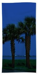Palms And Moon At Morse Park Bath Towel by Bill Barber