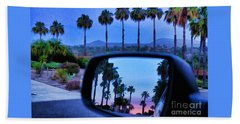 Palms Sunset Reflection Hand Towel by Sharon Soberon