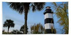 Pampas Grass, Palms And Lighthouse Hand Towel