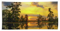 Panorama The Yellow Sunset Of Louisiana  Hand Towel