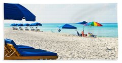 Panama City Beach Florida With Beach Chairs And Umbrellas Hand Towel