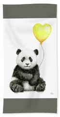 Panda Baby With Yellow Balloon Hand Towel