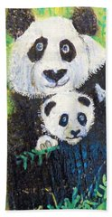 Panda Mother And Cub Hand Towel by Ann Michelle Swadener