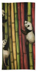 Pandas Climbing Bamboo Hand Towel by Leah Saulnier The Painting Maniac