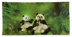 Pandas  Hand Towel by Odile Kidd