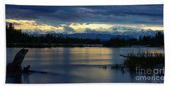 Pano Alaska Midnight Sunset Bath Towel