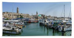 Panorama In Acre Harbor Hand Towel