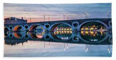 Bath Towel featuring the photograph Panorama Of Pont Neuf In Toulouse by Elena Elisseeva
